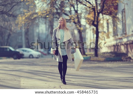 Girl autumn walk through Moscow