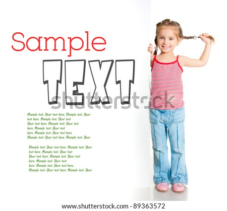 girl beside a white blank with sample text - stock photo
