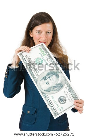 girl bites the big bucks on a white background