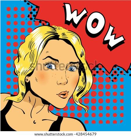 Girl blond is surprised.  illustration in pop art retro comic style - stock photo