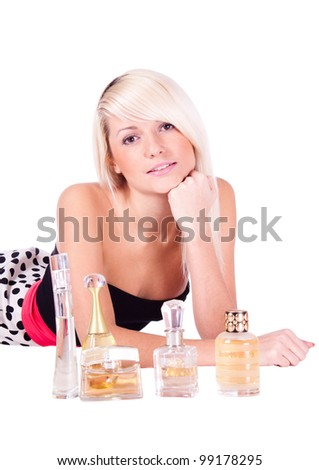 Girl, blond, white background with the spirits