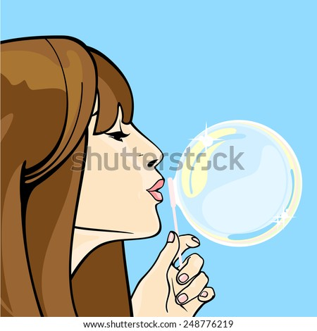 Girl blowing soap bubbles (raster version) - stock photo