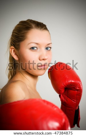 girl boxing - stock photo