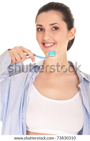 girl brushing teeth, dental care, isolated on white background