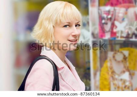 girl buy jewelry - stock photo