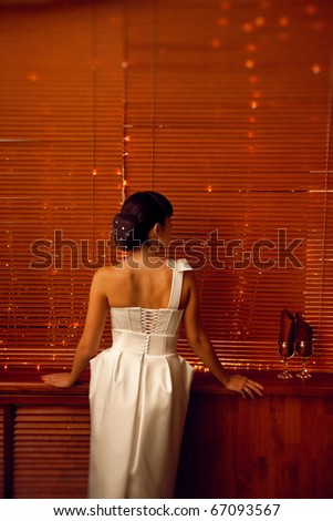girl by the backside in white dress - stock photo