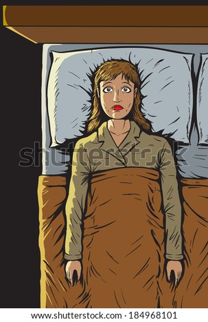 Girl can't sleep - stock photo