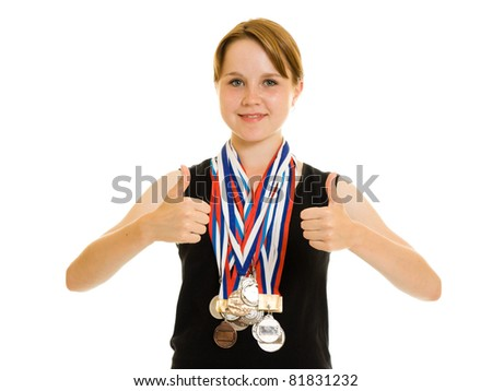 Girl champion on a white background - stock photo