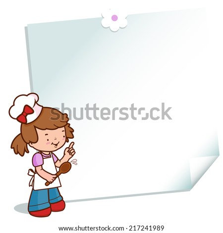 Girl chef with a sticky note. A little girl wearing a chef uniform and pointing on a paper post it note. Vector version also available in my gallery. - stock photo