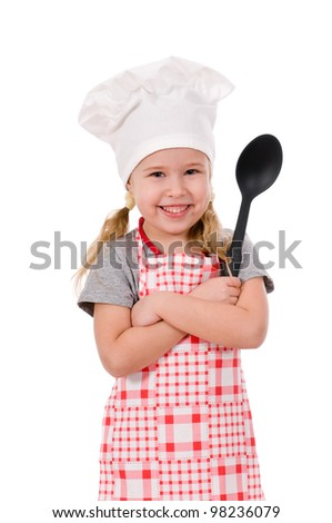girl chef with large spoon isolated on white background