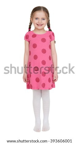 Girl child portrait in red dress  - stock photo