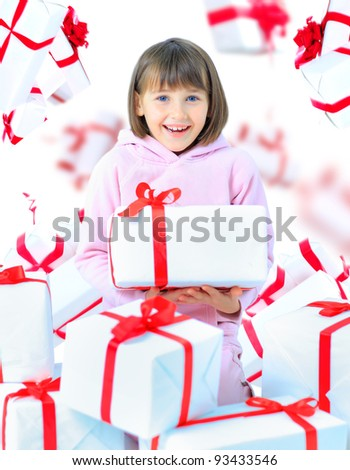 Girl child with gift box. Isolate - stock photo