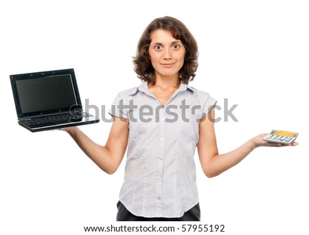 Girl chooses between a laptop and a calculator - stock photo