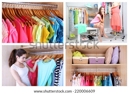 Girl choosing cloth, collage