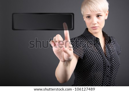 Girl choosing photo from touch screen - modern photography concept - stock photo