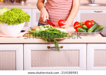Girl chopped cucumber on the kitchen. Visible only to her hands, knife and vegetables. Cucumbers, tomatoes, lettuce, dill, parsley, onions - vegetables for a salad. Concept about healthy eating. - stock photo