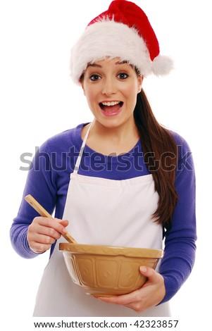 Girl christmas cooking - stock photo