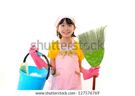 Girl cleaning - stock photo