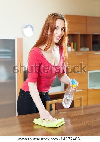 Girl Red Cleaning Table Furniture Polish Stock Photo