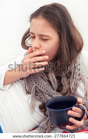 Girl cold. coughs - stock photo