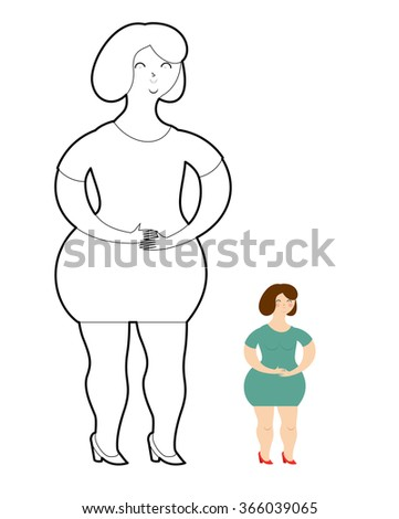 Girl Coloring Book. Fat woman in green dress.