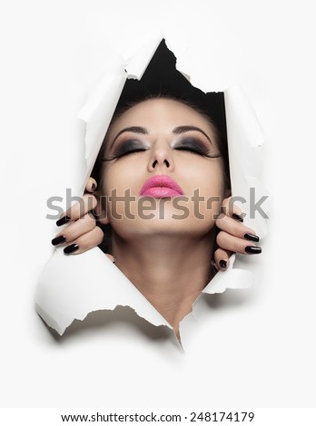 girl coming out of a white background - stock photo