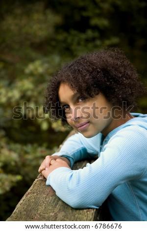 girl contemplating life - stock photo