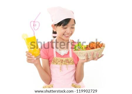 Girl cook - stock photo