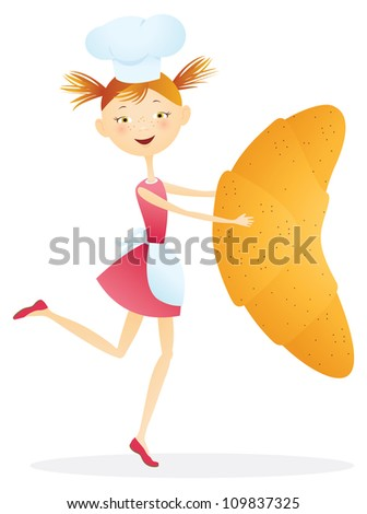 Girl cook with croissants. - stock photo