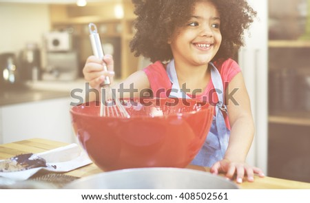 Girl Cooking Bake Bowl Cake Casual Making Concept - stock photo