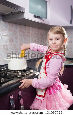 girl cooking pasta
