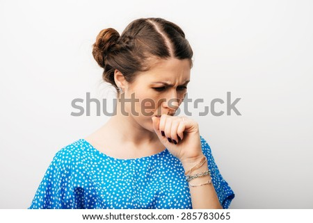 girl, coughs - stock photo