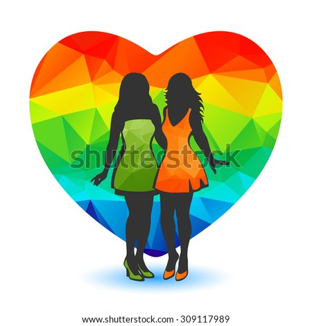 Girl couple silhouettes and heart on a white background.