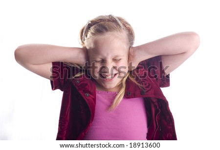 Girl covering her ears because it is too loud isolated on white - stock photo