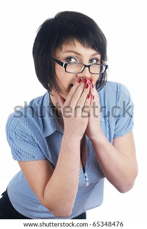 Girl covering her mouth - stock photo