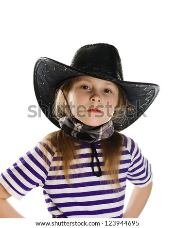Girl cowboy in a black hat on a white background. - stock photo