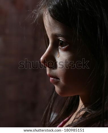 girl cry in dark - stock photo
