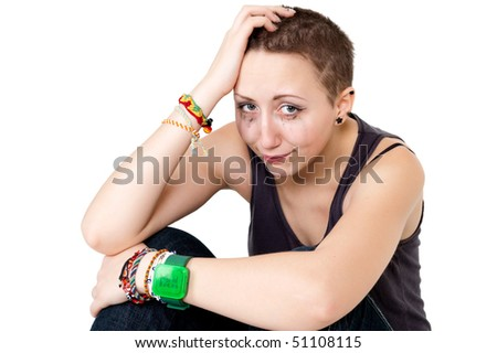 girl crying after act of violence - stock photo