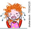 Girl Crying-- child-like illustration - stock photo