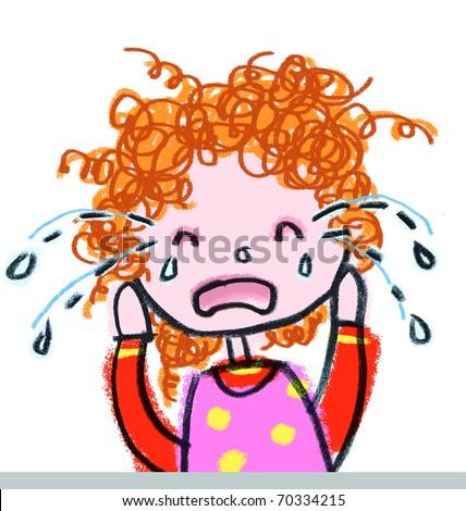 Girl Crying-- child-like illustration - stock photo