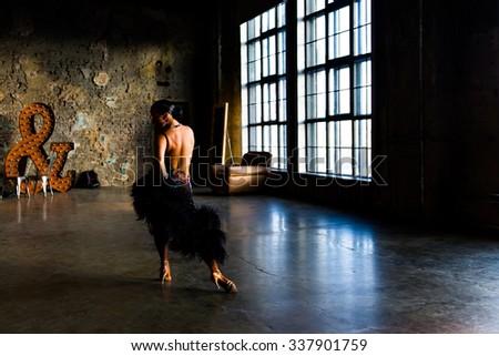 Girl dancing ballroom dance - stock photo