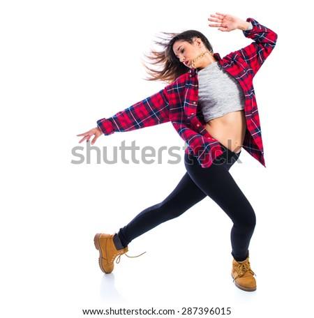 Girl dancing hip hop - stock photo