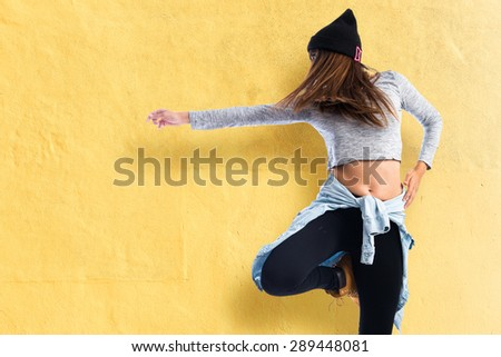 Girl dancing hip hop - stock photo