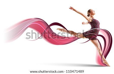 Girl dancing in a color dress with a gray background. Collage - stock photo