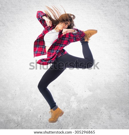 Girl dancing street dance - stock photo