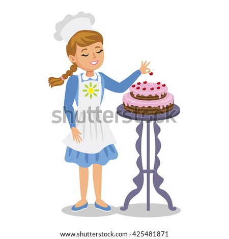 Girl decorates a cake with cherries. Cute cartoon girl with cake. - stock photo