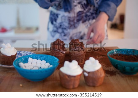 girl decorates cupcakes, holding  plate, muffins and  plate of ingredients for decoration on the table - stock photo