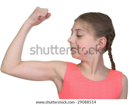 Girl demonstration us muscular system on the white background