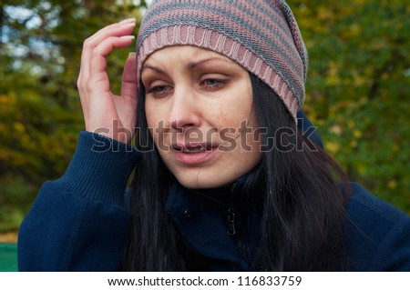 girl depressed and crying - stock photo