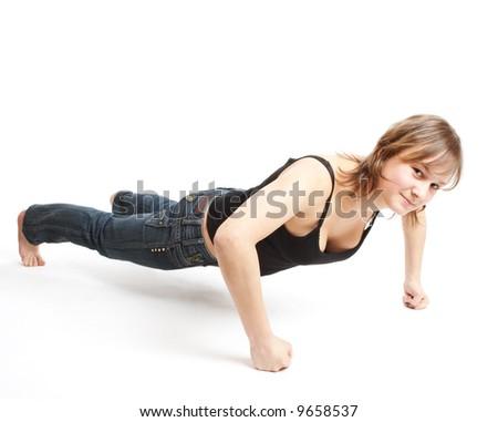 girl does sports exercises - stock photo